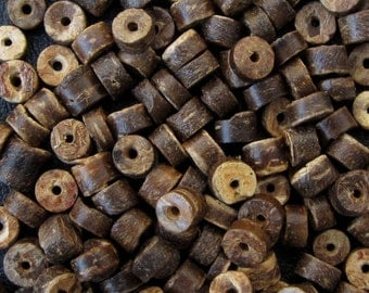 Brown Coconut Heishi Beads, 5 mm -- 125 spacer beads