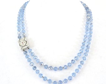Long Double Strand Necklace AB Blue Crystal Beads Rhinestone Closure