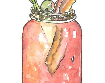 Bloody Mary Print 5x7, Matted to fit into an 8x10 frame, watercolor