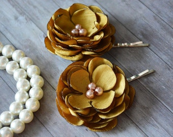 Bridal Flower Hair Pins, Gold, Wedding Hair Piece, Hair Clip, Headpiece, Bridal Hair Clip, Set of 2, Bridesmaid Accessory, Yellow, HairPiece