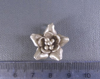 Large Fine Silver Handmade Hill Tribe Flower Rose Pendant, Charm