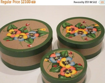 MOVING SALE 3 Handpainted Nesting Boxes with Pansies and Ladybugs.