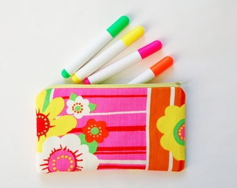 psychedelic fashion, pencil pouch, pencil case, neon zipper pouch, flower child, hippie, retro, back to school, bright vintage fabric clutch