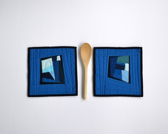Blue Pot Holders, Quilted Pot Holders, Modern Kitchen Decor, Abstract Pot Holders, Hot Pads, Hostess Gift