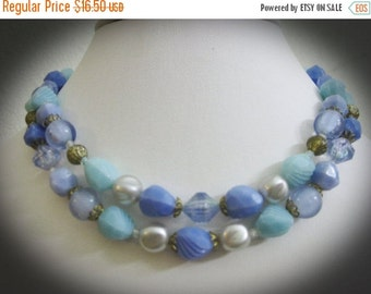 15% Off Sale Dual Strand Vintage Blue, Green, and Gold Bead Necklace-W. Germany