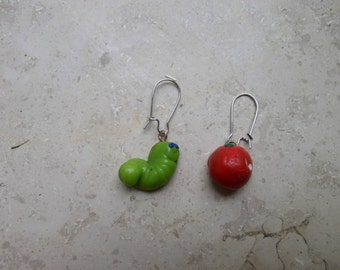 apple and worm earings