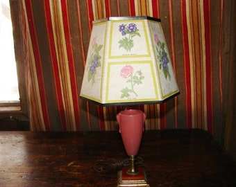 Cute Antique Pink Glass and Toffee Colored Slag Glass Table Bedroom Lamp with Flower Shade ~ Boudoir Lamp ~ HyArt Lamp NY
