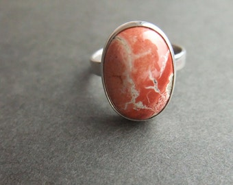 Jasper Gemstone Ring - 925 Sterling Silver Ring - Handmade Jewelry - Bezel Setting - Artisan Jewelry - 925 Silver