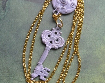 KAYLEA Lilac Key on Yellow Gold Chain Pendant Necklace