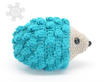Bright Blue Hedgehog Crochet Stuffed Animal