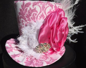 White and Pink Sparkly Damask Mad Hatter Mini Top Hat for Dress Up, Birthday, Tea Party or Photo Prop