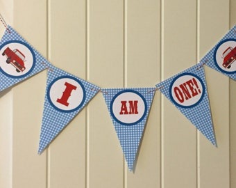 """GINGHAM VINTAGE TRUCK Highchair Banner 1st Birthday Party """"I am One"""" Blue Red - Party Packs Available"""