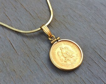 Mexican Gold Coin Necklace Dos y Medio Pesos 1945 22k Gold Coin Locket Necklace
