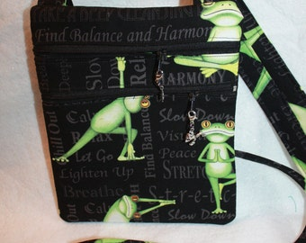 Handcrafted Crossbody bag frog themed fabric    Adjustable strap