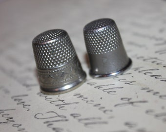 TWO Vintage Thimbles, 10 and 9