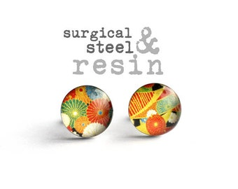 Japanese earring stud, Surgical steel earring post, Floral stud, Tiny earring studs, gift for her
