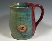 Pottery Mug -  Ceramic Coffee Cup - 16 oz - brick red jade green - dog stamp - ready to ship - ceramics - pottery - stoneware