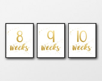 Pregnancy countdown, gold foil, weekly pregnancy signs, pregnancy photo props, instant download
