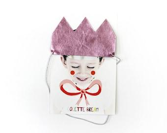Birthday Crown, Party crown, Leather crown, Princess crown, metallic pink