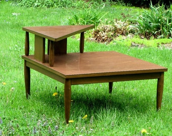 Mersman Wood and Formica Triangle Step End Table Brass Bottom Tapered Leg Atomic Mid Century Furnishings