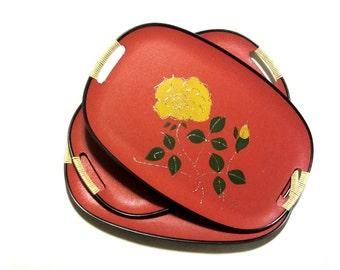 Mid Century Orange Serving Tray Yellow Flower Platter Wrapped Handles Retro Picnic Spring Summer Kitchen Dining Decor
