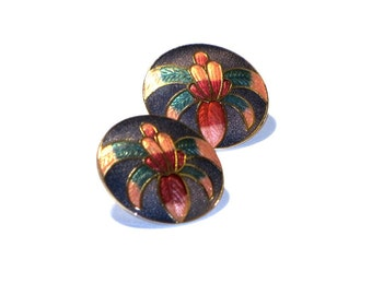Cloisonne Orchid Earrings Round Floral Multicolor Enamel Flower Posts