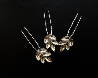 Set of 3 clear Crystal  bridal Hair Pins