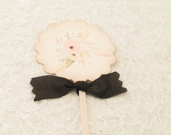 Shabby Chic Rose Floral Cupcake Toppers-Shower Luncheon Wedding Picks Favors-Set of 12