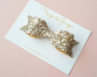 Gold Glitter Bow Headband. Baby/ Girl/ Infant/ Toddler/ Teen or Adult Size. Bow Headband or Clip.