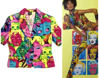Vintage VERSACE Marilyn Monroe Betty Boop Cartoon Blouse Top Blazer