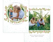 INSTANT DOWNLOAD - Christmas Holiday Card Photoshop template - e1355