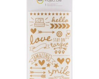 Sale Project Life Gold Foil Rub Ons