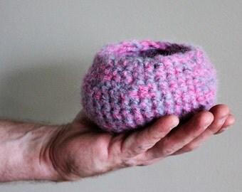 Bird nest, crochet nest, basket, wool nest, wooden eggs, natural toy, waldorf