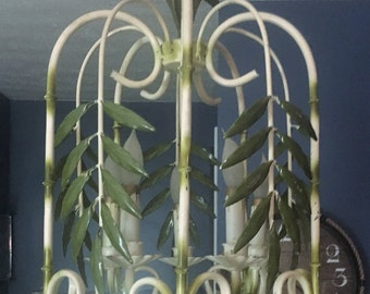 Faux Bamboo Chandelier- Palm Beach Regency-Palm Leaf Vintage 1950's metal -Local Pick Up Akron, Ohio