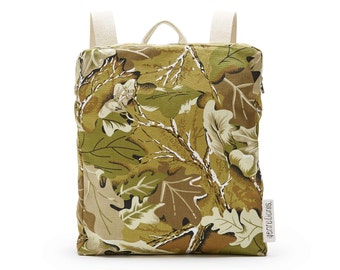 SALE 20% OFF Minimalist leafy pattern cotton backpack with natural canvas straps
