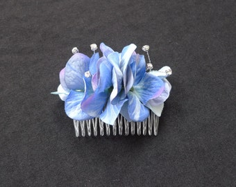 One blue hydrangea fabric flower hair comb with diamante detail