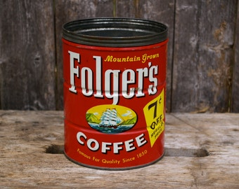 Vintage Large Folgers Coffee Can 7 cents off 1950s