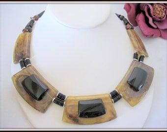 Faux Tortoiseshell Necklace -  Lucite Bib - Black Plastic Necklace