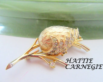 Rhinestone Rose Brooch - Signed Hattie Carnegie - Designer 60's Pin