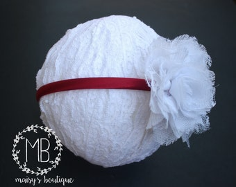 70% OFF Red and White Lace Pouf Flower Headband/ Wedding Headband