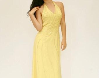 25%OFF SALE 90's Beaded Evening Gown, Yellow Chiffon Prom Dress, Maxi Halter Dress, Halter Dress