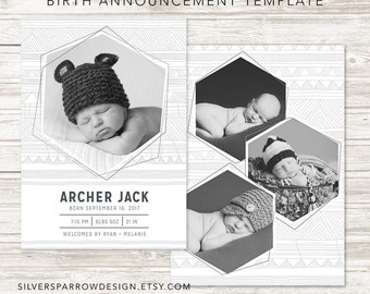 Birth Announcement Template, Tribal Design, INSTANT DOWNLOAD
