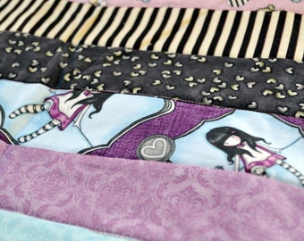 Gothic rag doll baby quilt, baby blanket, girls baby blanket, toddler quilt, crib quilt, girls quilt, nursery decor, jelly roll quilt