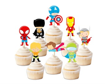 Superhero cupcake toppers, Superhero party, Superhero decorations, boy birthday theme