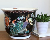 Vintage Asian Fishbowl Planter Black Cachepot Large Indoor Planter Pot Peacock Rooster Chinoiserie Palm Beach Chic