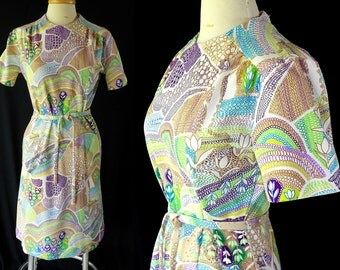 60s Mod Dress Jari Jane Psychedelic Novelty Print Peter Max