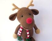 PDF Rudolph the deer,  Crochet Toy,  DIY tutorial