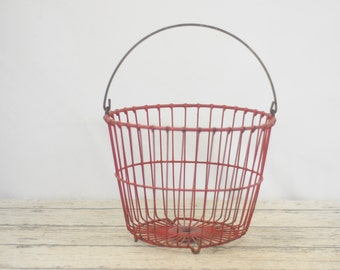 Vintage Wire Egg Gathering Basket Red Rubber Coated Wire Egg Basket