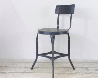 Vintage 1940's UHL Toledo Stool Chair Industrial Metal Steampunk
