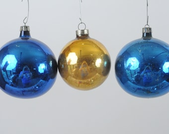 3 Vintage Christmas Ornament Glass Christmas Ornament Made in Poland and USA